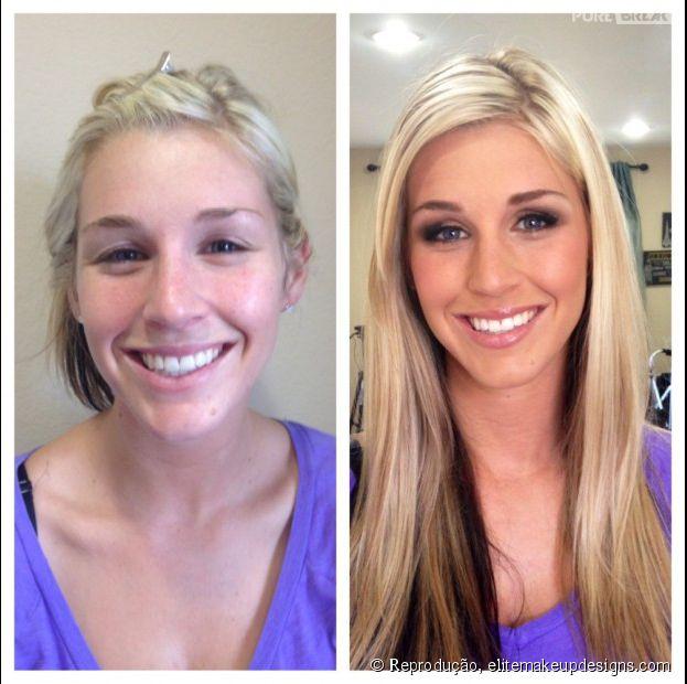Antes e depois de Mulheres com maquiagem
