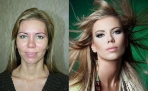 Antes e depois de Mulheres com maquiagem 2