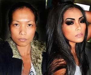 Antes e depois de Mulheres com maquiagem 5