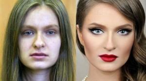 Antes e depois de Mulheres com maquiagem 7