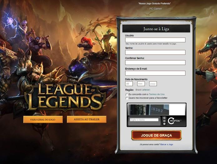 Criar conta no league of legends