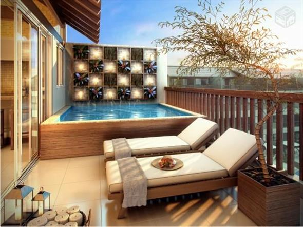 Modelos de casas pequenas com piscinas fotos for Piscina hinchable pequena